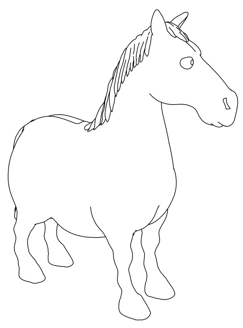 Horse V1 Side Coloring Page