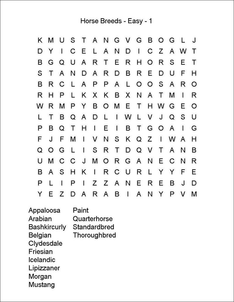 Horse Word Search Easy