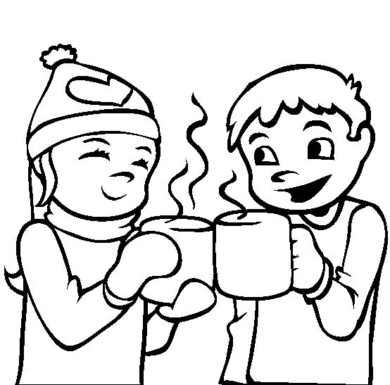 Hot Cocoa Winter Coloring Pages