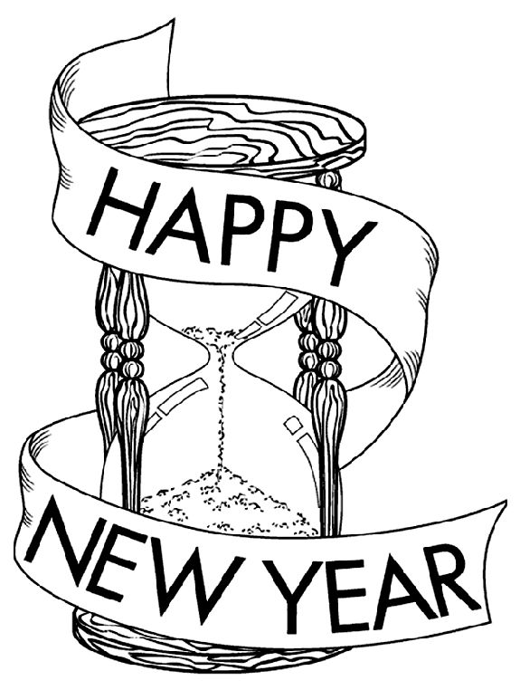 Hourglass Happy New Year Coloring Pages