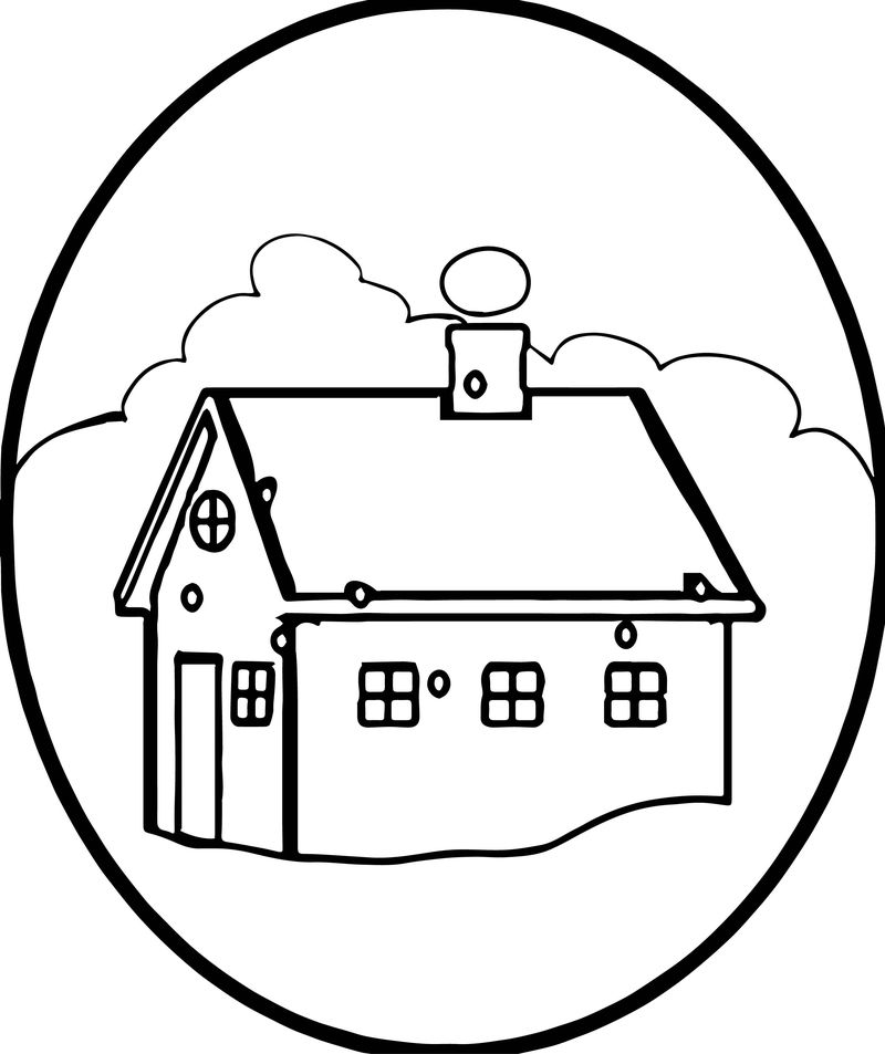 House In Winter With Snow Falling And Smoke Coming From Chimney Coloring Page