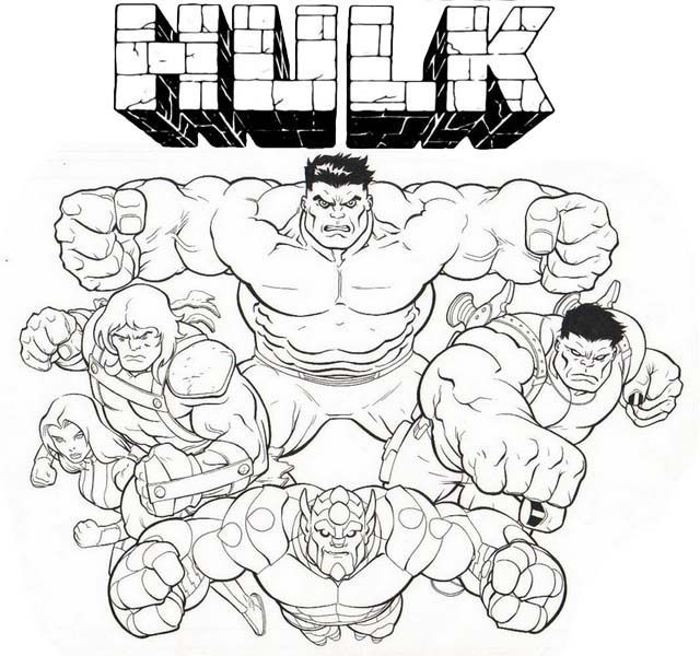 Hulk Squad Coloring Page For Marvel Fans