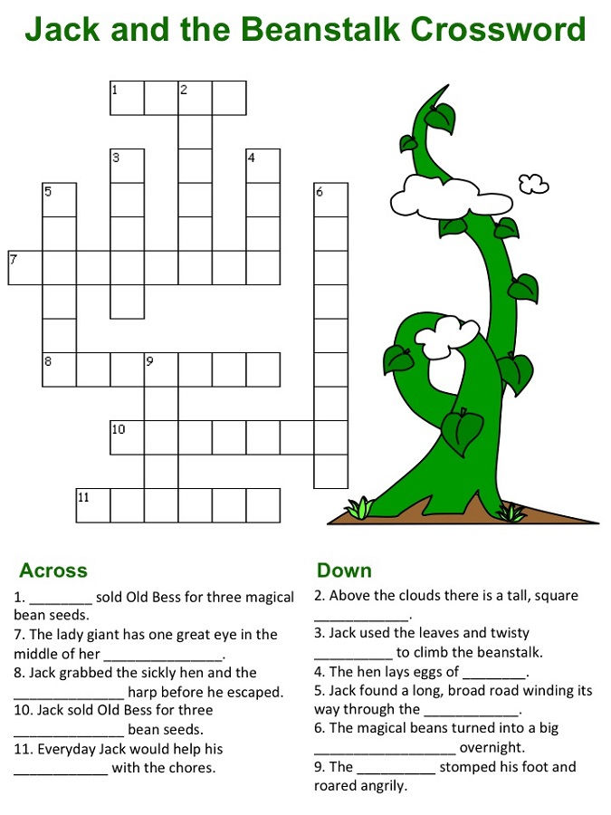 Jack And The Beanstalk Worksheets Crossword