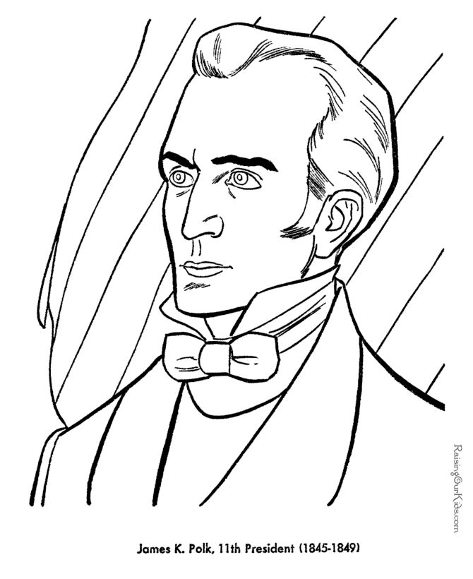 James Polk Presidents Day Coloring Page
