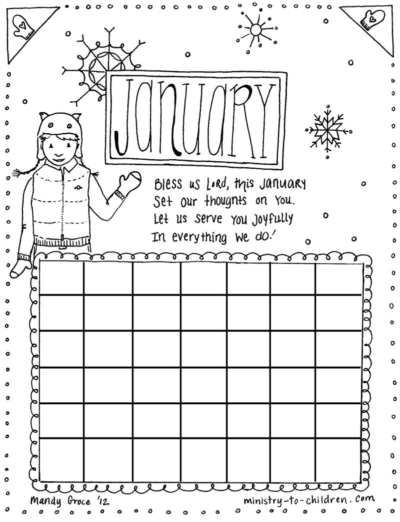 January Christian Calander Worksheet