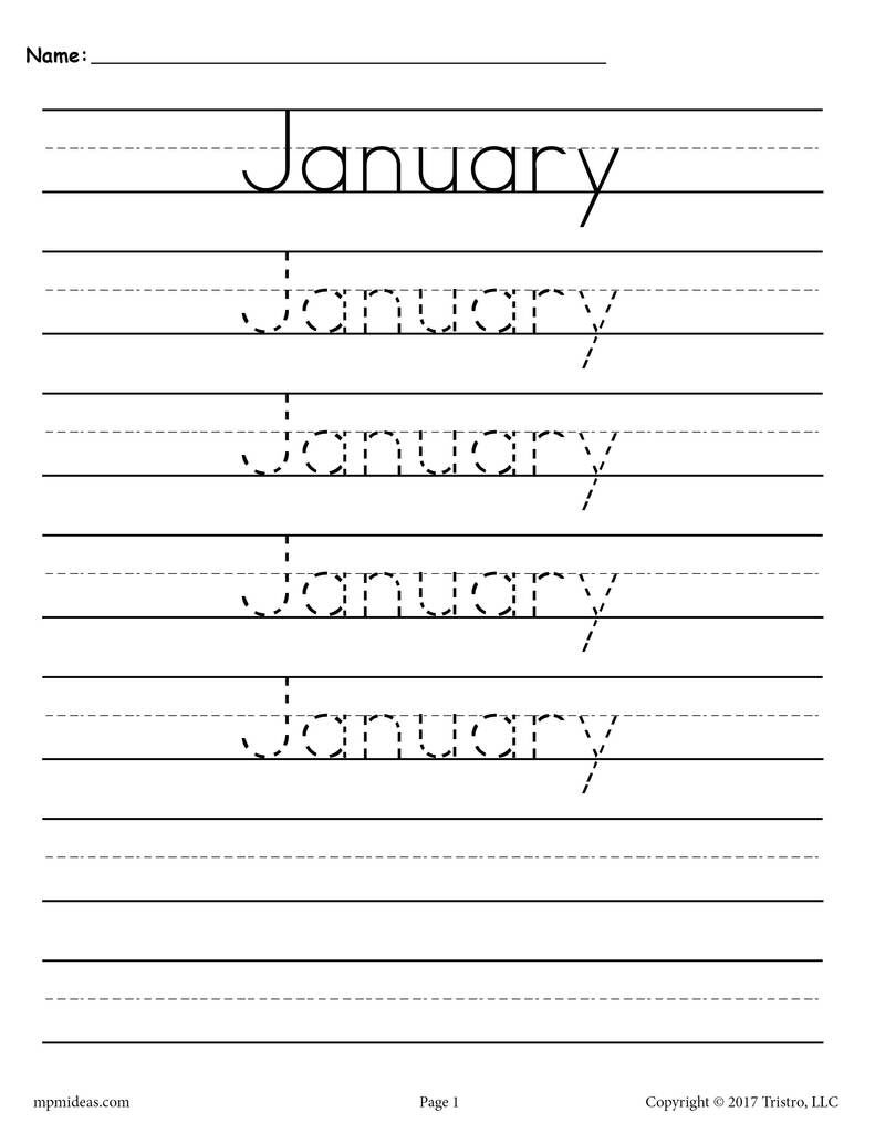 January Tracing Worksheet Free