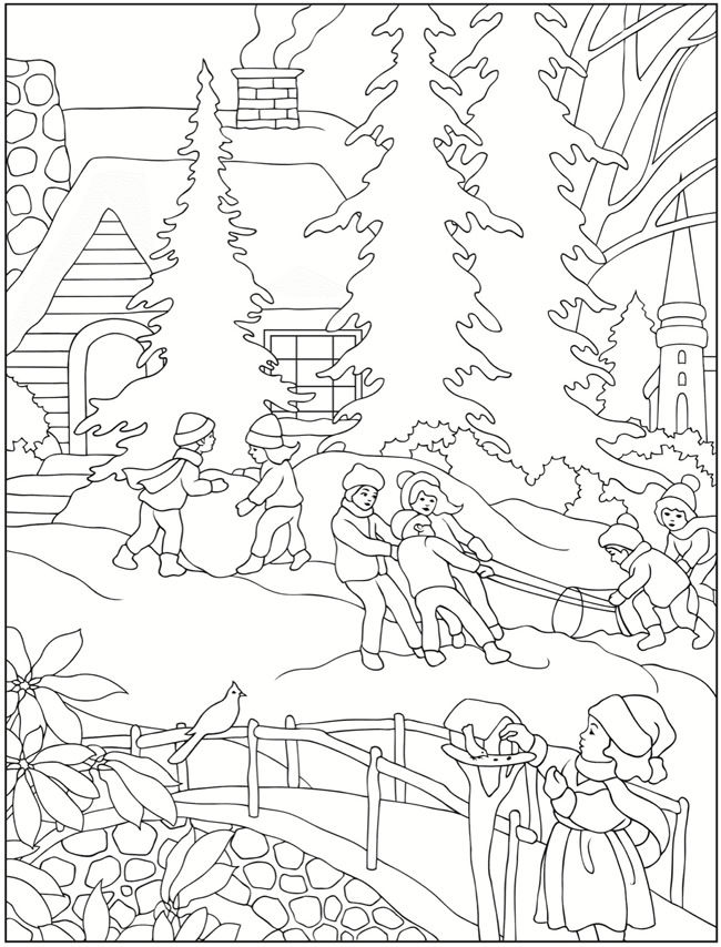 January Winter Scene Coloring Page