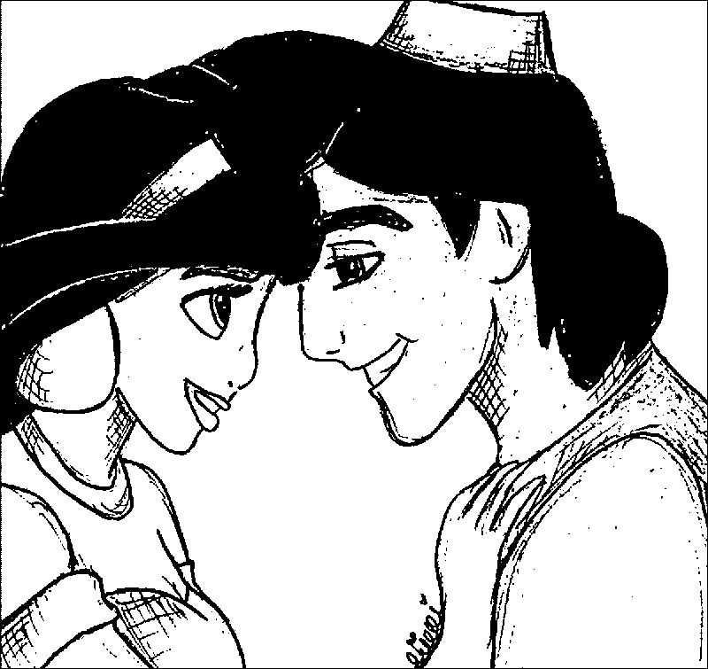 Jasmine And Aladdin Sketch Love Coloring Page