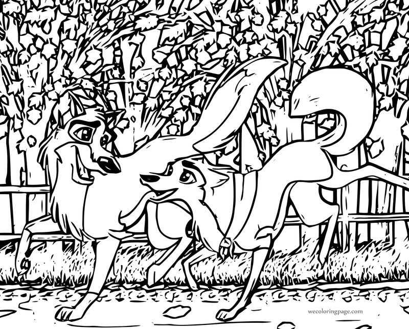 Jenna And Balto An Autumn Run Wolf Coloring Page