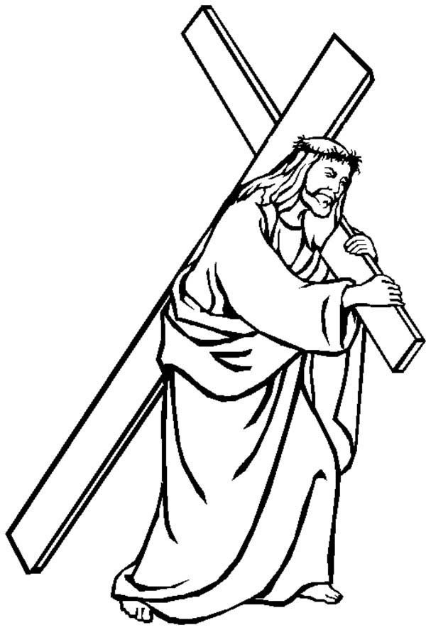 Jesus Carrying Cross Good Friday Coloring Page