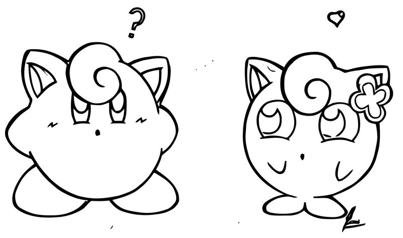 Jigglypuff Is Falling In Love Coloring Page