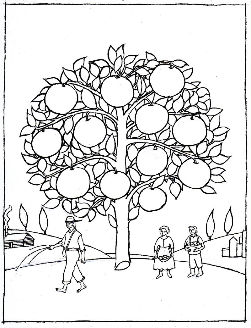 Johnny Appleseed Tree Coloring Pages