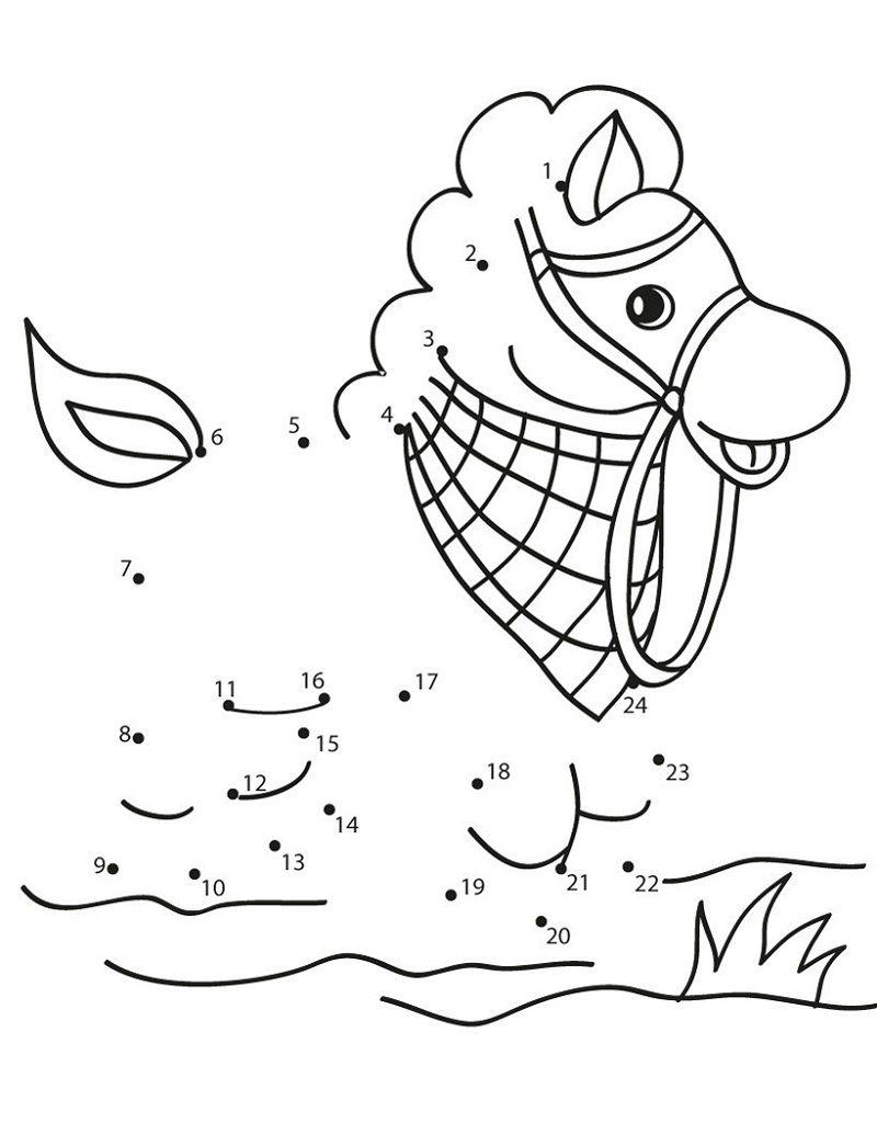 Join The Dots Animal Horse Pictures For Kids