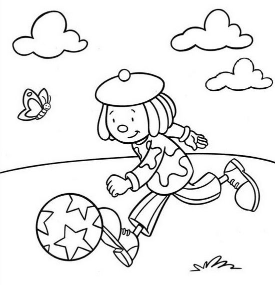 Jojo Circus Playing Football Coloring Picture