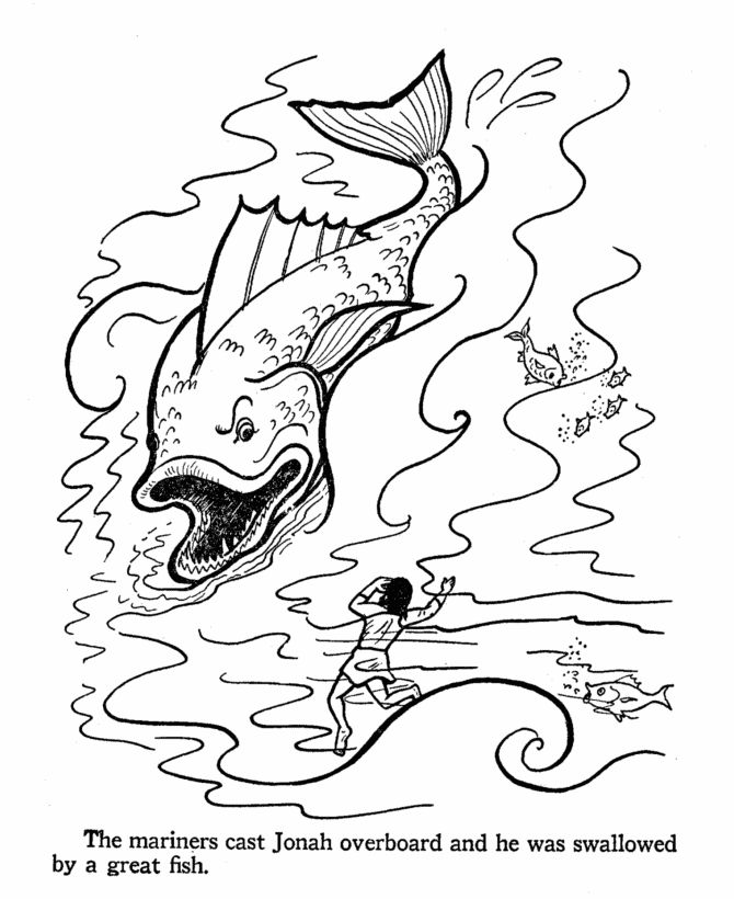 Jonah And The Fish Bible Coloring Pages