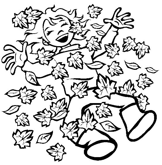 Jumping In Fall Leaves Coloring Pages