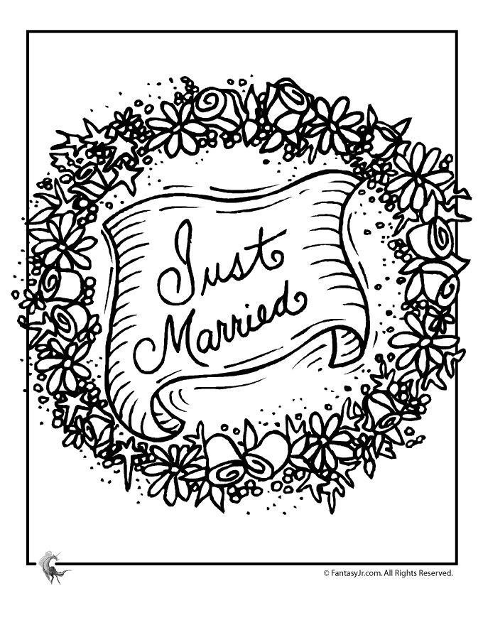 Just Married Wedding Coloring Page