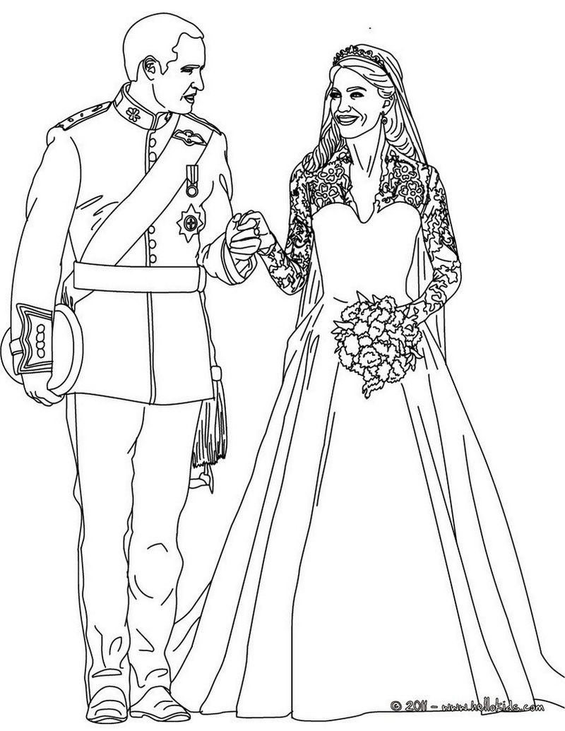 Kate And William Wedding Celebrate Coloring Sheet
