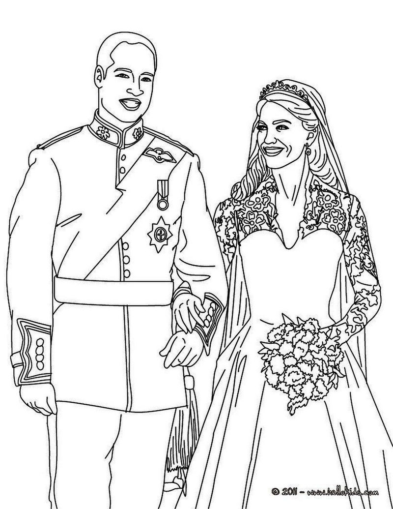 Kate And William Wedding Coloring Page