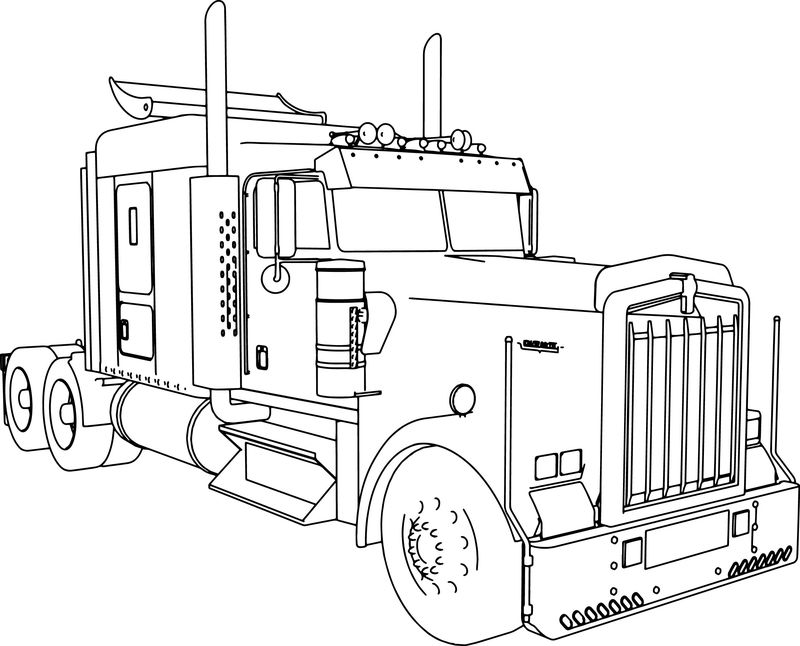 Kenworth W900 L Long Trailer Truck Coloring Page