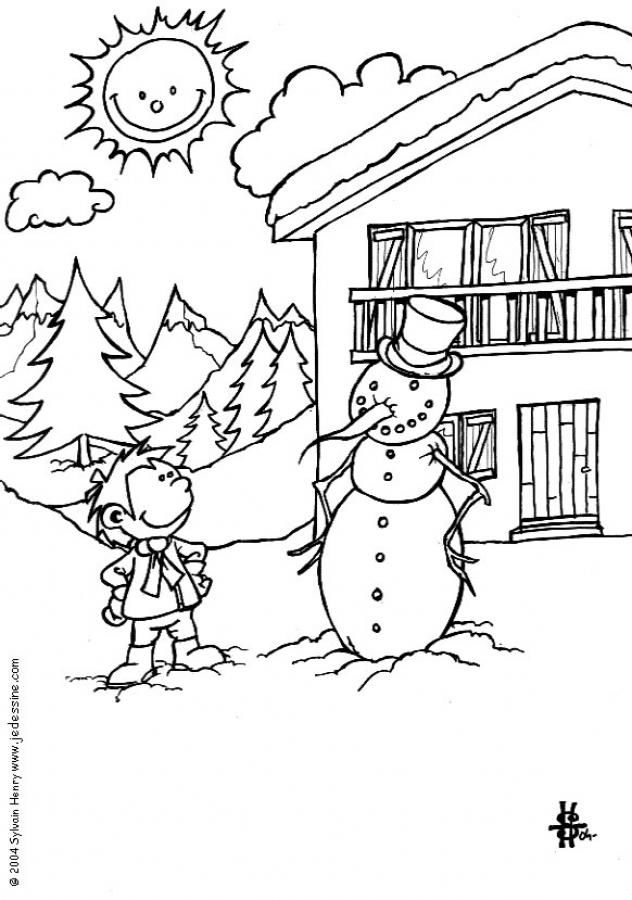 Kid And Snowman Winter Scene Coloring Pages