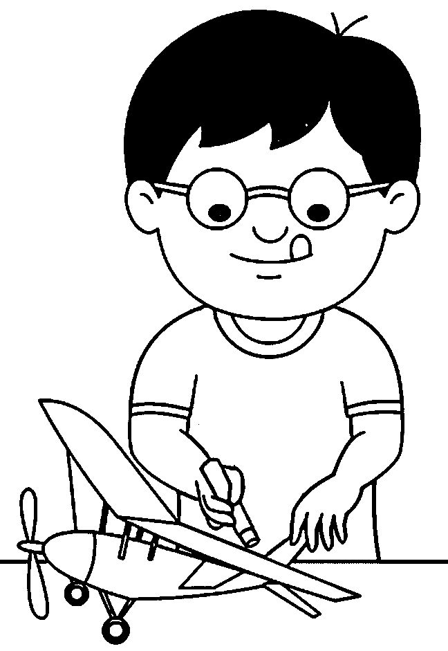 Kid Making A Model Airplane Coloring Page
