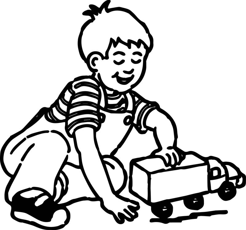 Kids Playing Truck Coloring Page