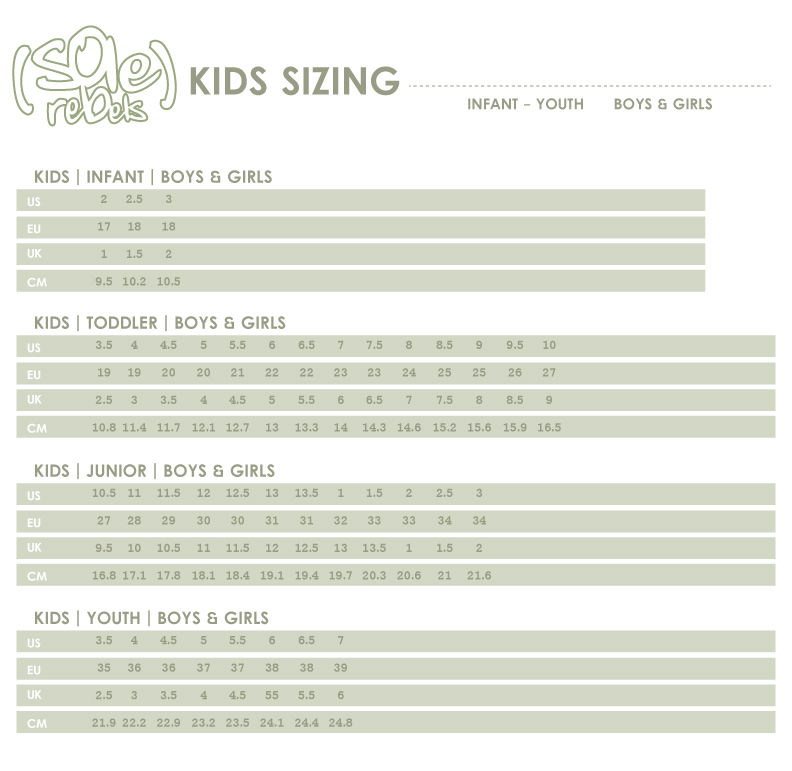 Kids Printable Shoe Size Chart