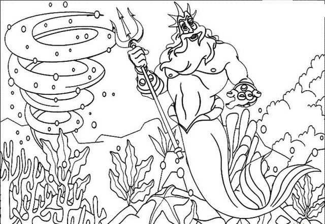 King Triton Coloring Page For Little Mermaid Fans