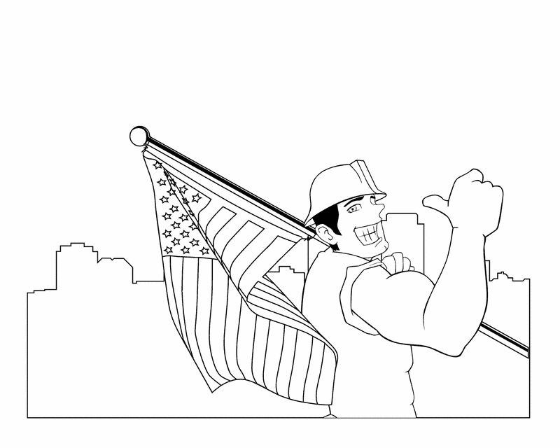 Labor Day Coloring Pages Worker With Flag