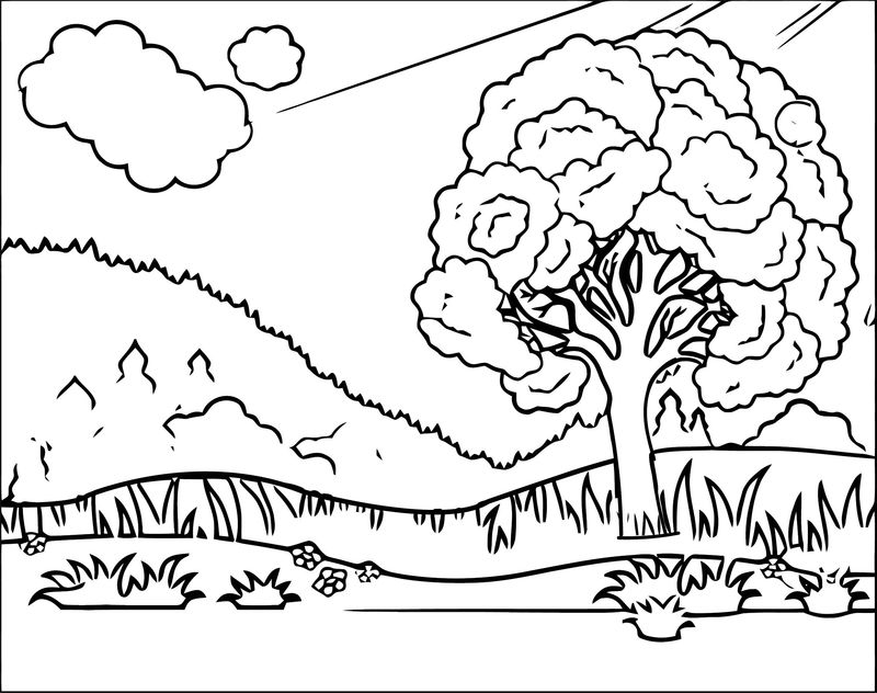Landscape With Leafy Tree And Lake Coloring Page