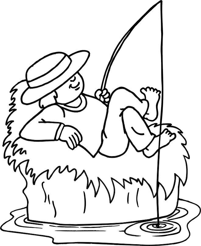 Lazy Fishing Coloring Pages 001