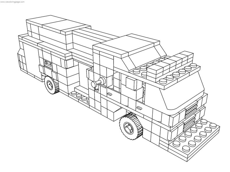 Lego City Fire Rescue Pumper Truck Coloring Page