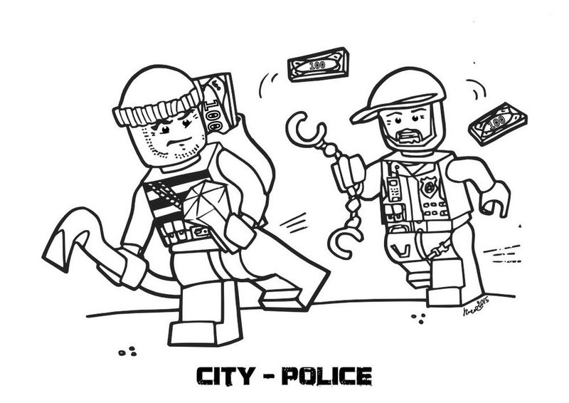 Lego City Police Chase Coloring Page