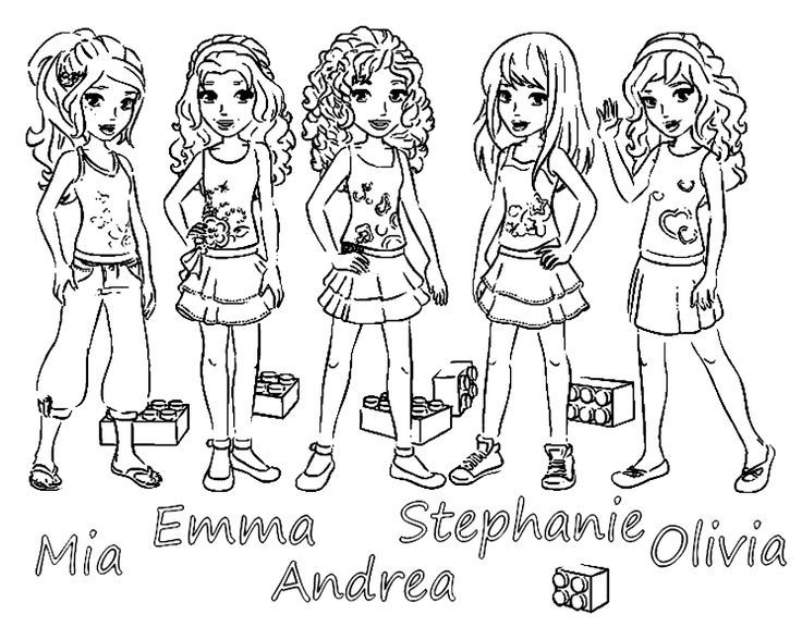 Lego Friends 5 Main Girls Coloring Page
