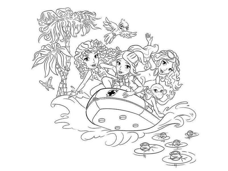 Lego Friends Boat Coloring Page