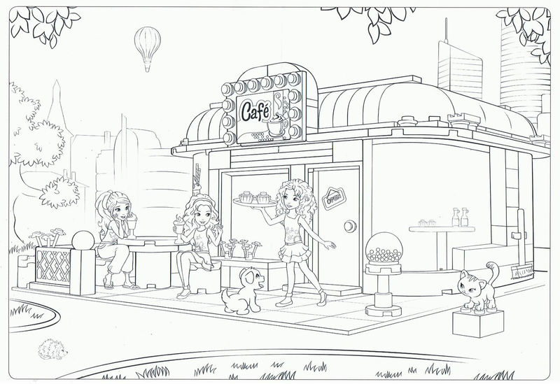 Lego Friends Cafe Coloring Page