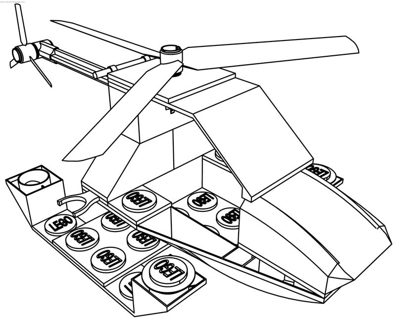 Lego Helicopter Coloring Page