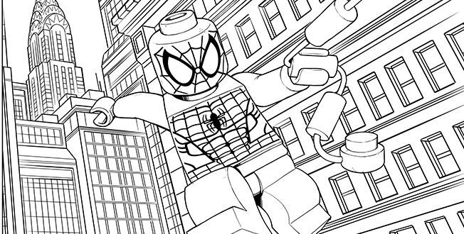 Lego Spiderman In The City Coloring Pages