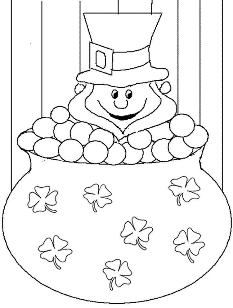 Leprechaun And Four Leaf Clover Coloring Pages