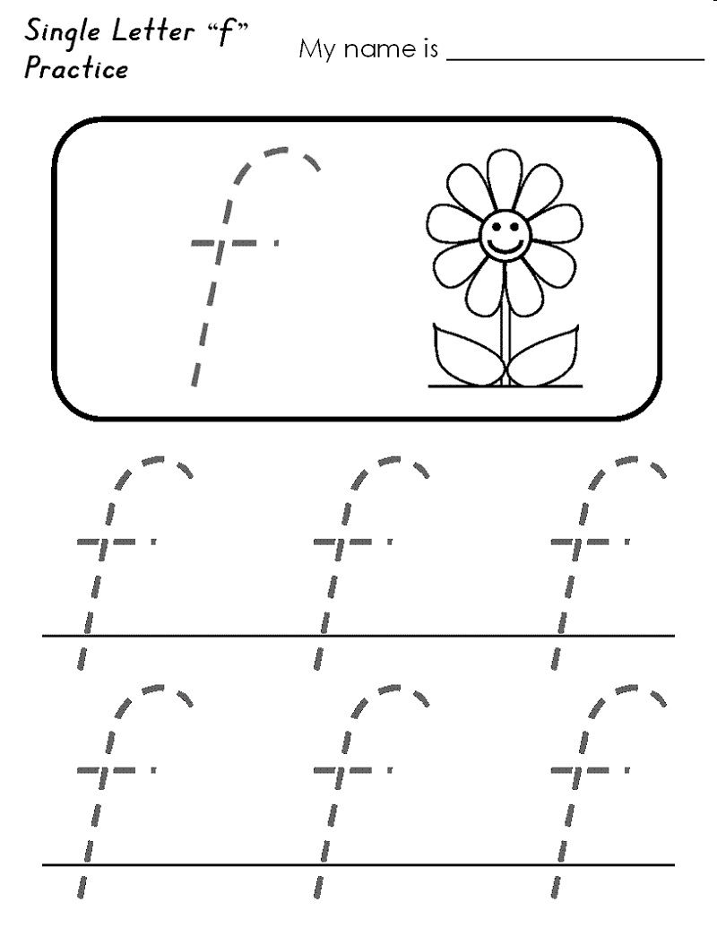 Letter f tracing worksheets simple