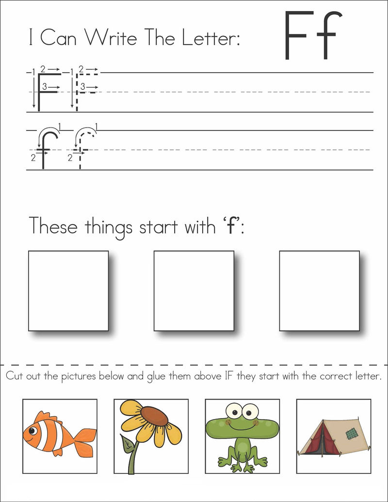 Letter F Worksheet Cut And Paste