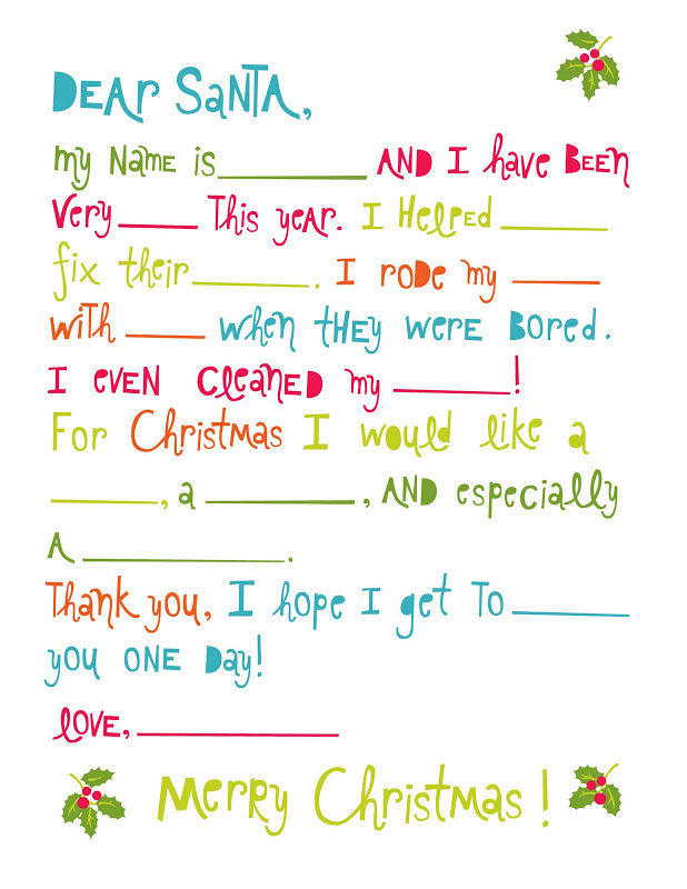 Letter To Santa Fill In The Blanks