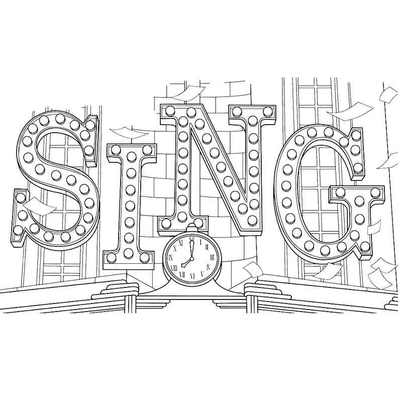 Lighted Sign Sing Coloring Pages