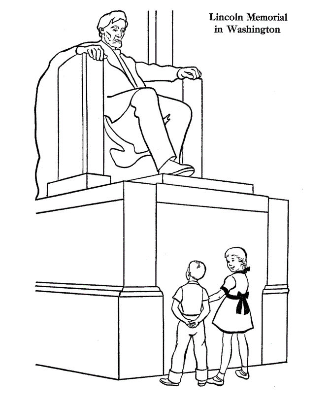 Lincoln memorial presidents day coloring page