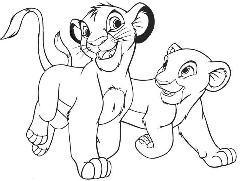 Lion King Coloring Pages Young Simba And Nala