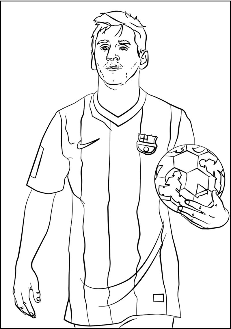 Lionel Messi Soccer Player Coloring Sheet