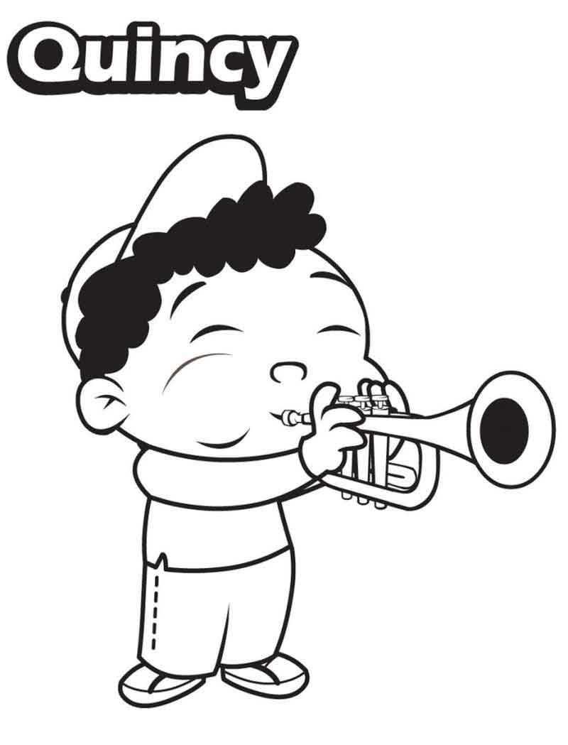 Little Einsteins Coloring Pages Quincy Paying Trumpet