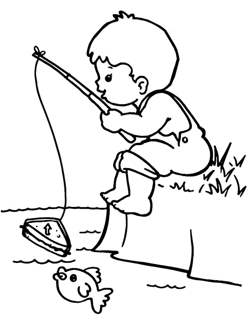 Little Boy Fishing Coloring Page 001