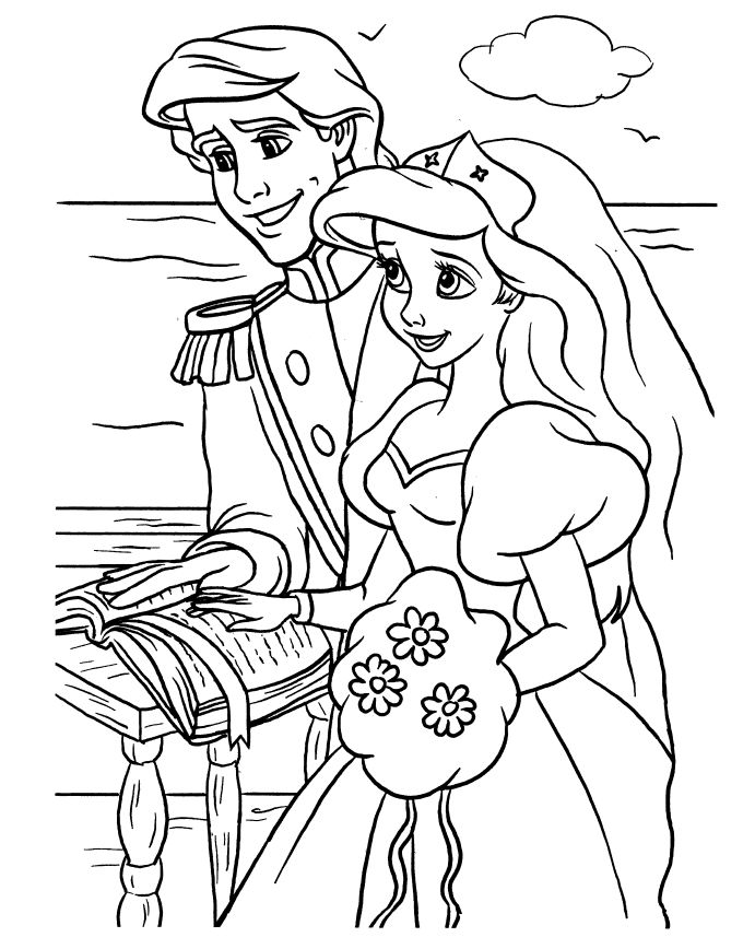 Little mermaid wedding coloring pages 001